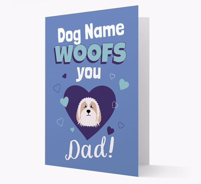 'I Woof You Dad' - Personalized Bearded Collie Card