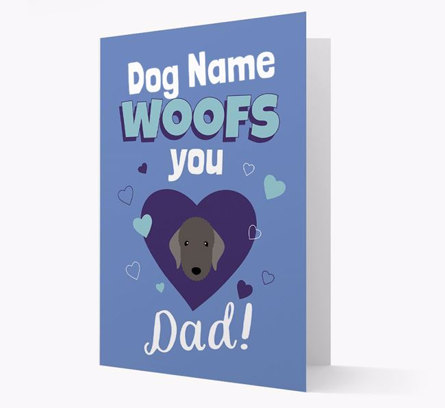 'I Woof You Dad' - Personalized Bedlington Terrier Card