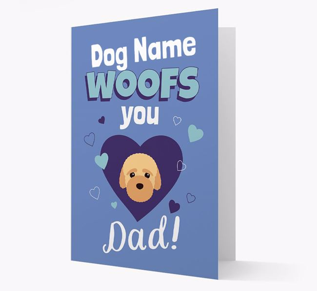 'I Woof You Dad' - Personalized Bich-poo Card