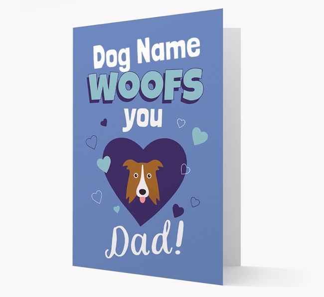 'I Woof You Dad' - Personalized Border Collie Card