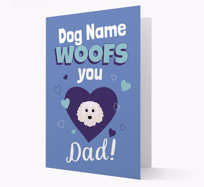 'I Woof You Dad' - Personalized Cavapoochon Card