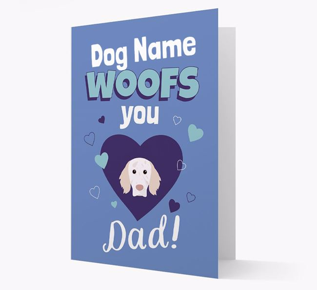 'I Woof You Dad' - Personalized English Setter Card