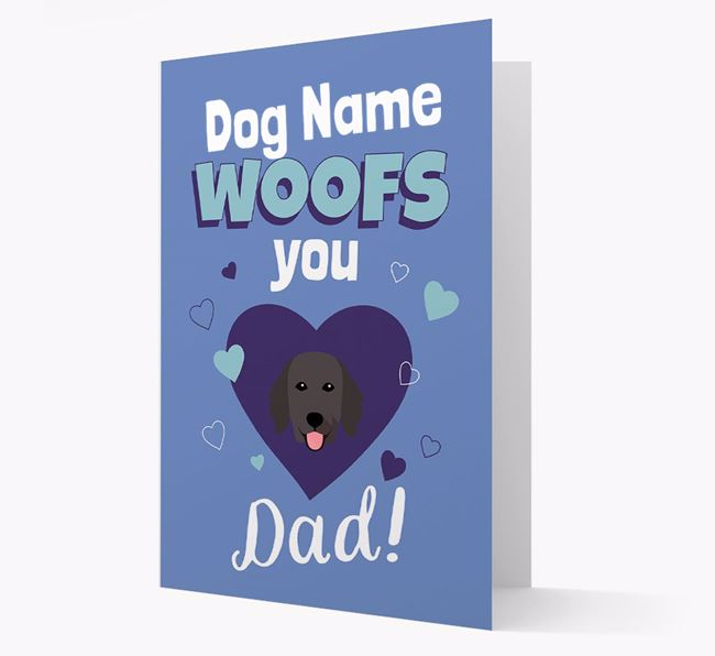 'I Woof You Dad' - Personalized Flat-Coated Retriever Card