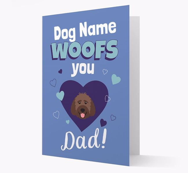 'I Woof You Dad' - Personalized Goldendoodle Card