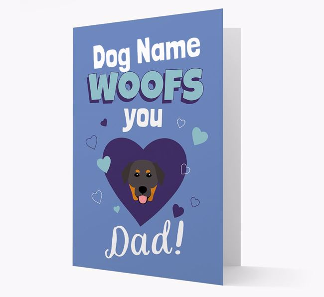 'I Woof You Dad' - Personalized Golden Labrador Card