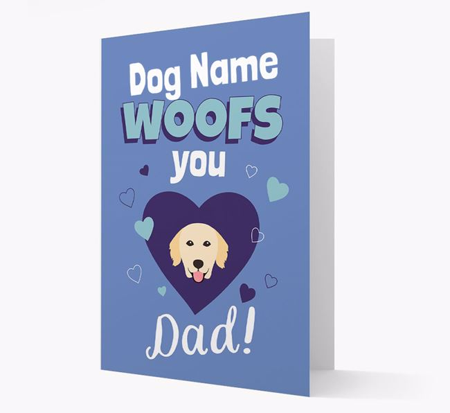 'I Woof You Dad' - Personalised Golden Retriever Card