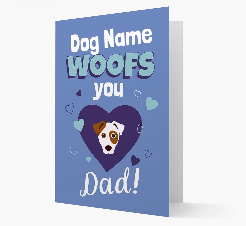 'I Woof You Dad' Card with Dog Icon