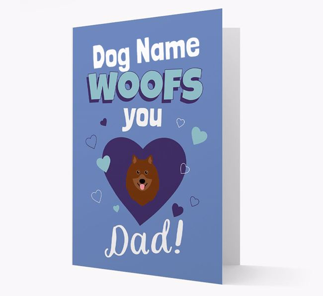 'I Woof You Dad' - Personalized Keeshond Card