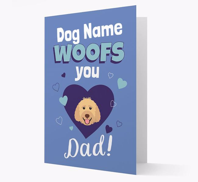 'I Woof You Dad' - Personalized Labradoodle Card