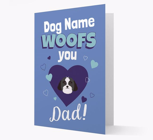 'I Woof You Dad' - Personalized Lhasa Apso Card