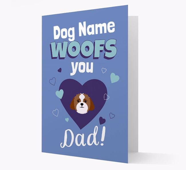'I Woof You Dad' - Personalized Lhasapoo Card