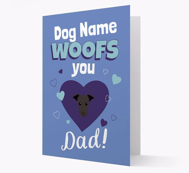 'I Woof You Dad' - Personalized Lurcher Card