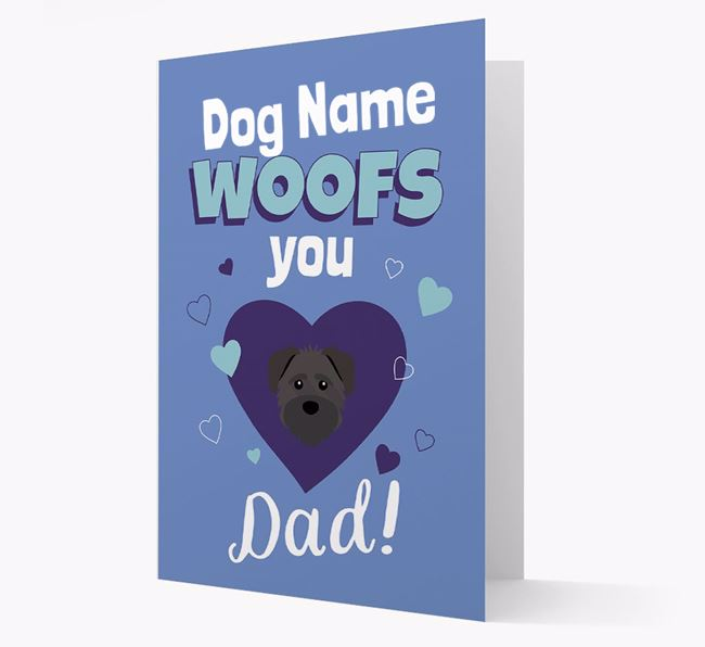 'I Woof You Dad' - Personalized Schnoodle Card