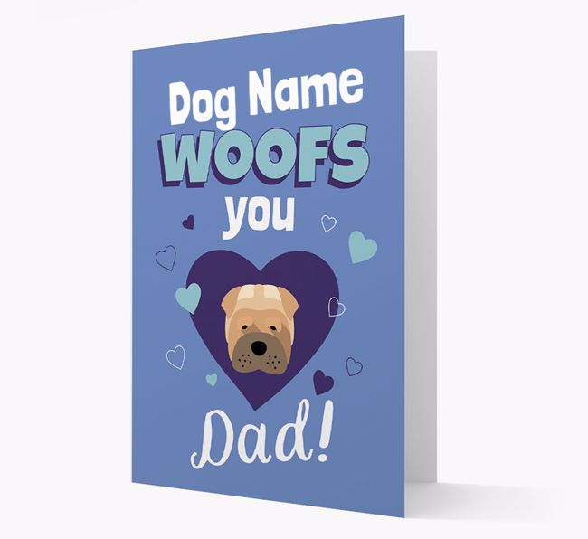 'I Woof You Dad' - Personalised Dog Card