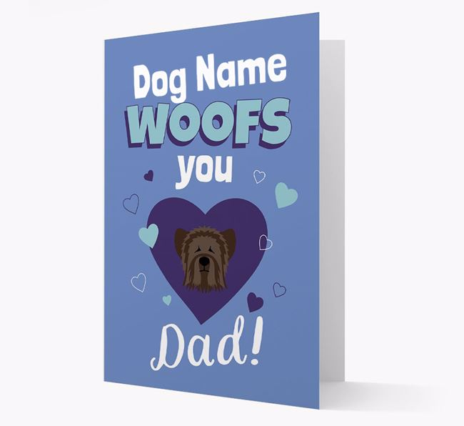 'I Woof You Dad' - Personalized Skye Terrier Card