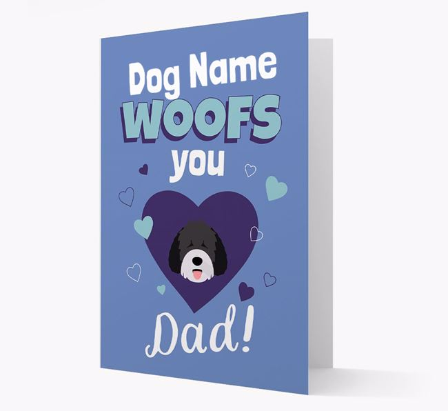 'I Woof You Dad' - Personalized Spanish Water Dog Card