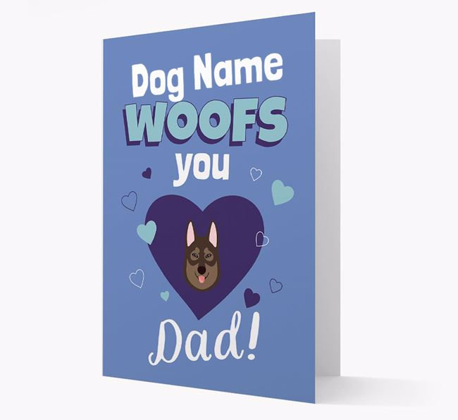 'I Woof You Dad' - Personalised Tamaskan Card