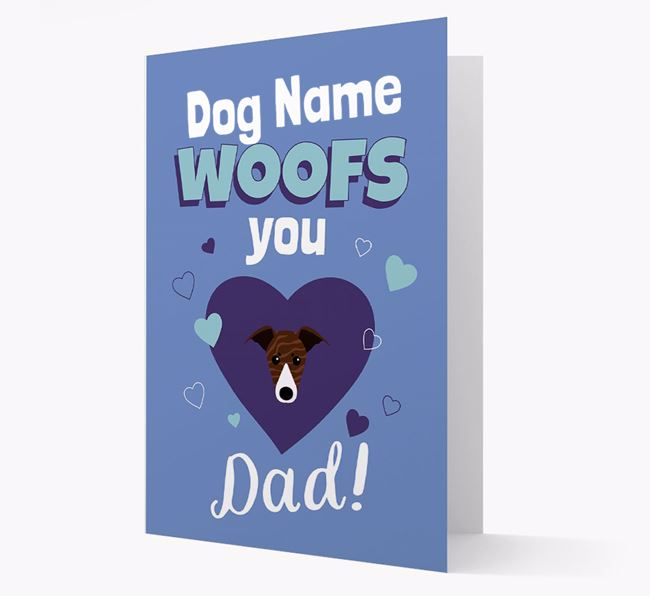 'I Woof You Dad' - Personalized Whippet Card
