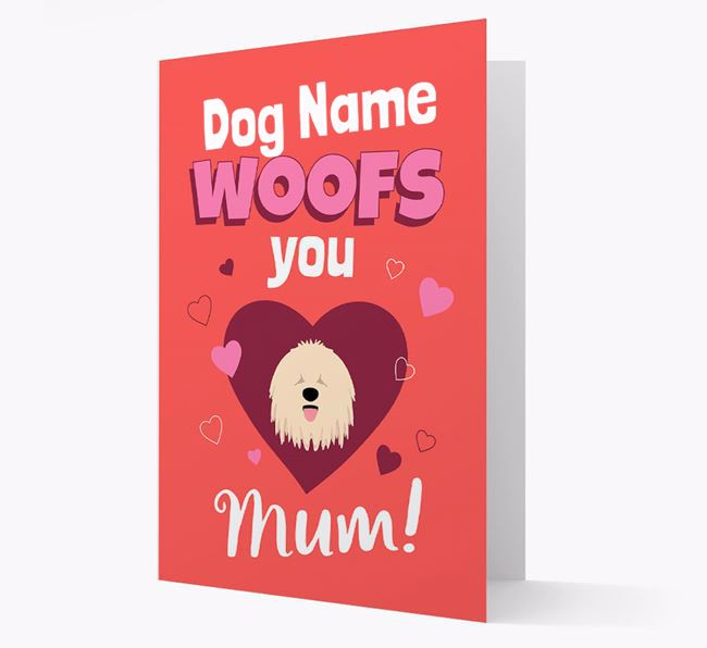 'I Woof You Mum' - Personalized Komondor Card
