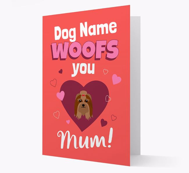 'I Woof You Mum' - Personalized Lhasa Apso Card