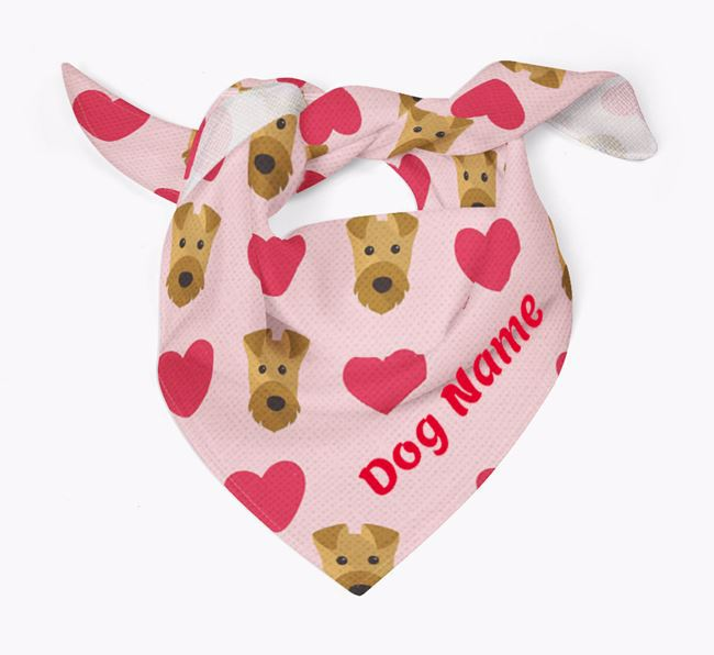'Heart Pattern' - Personalized Airedale Terrier Bandana