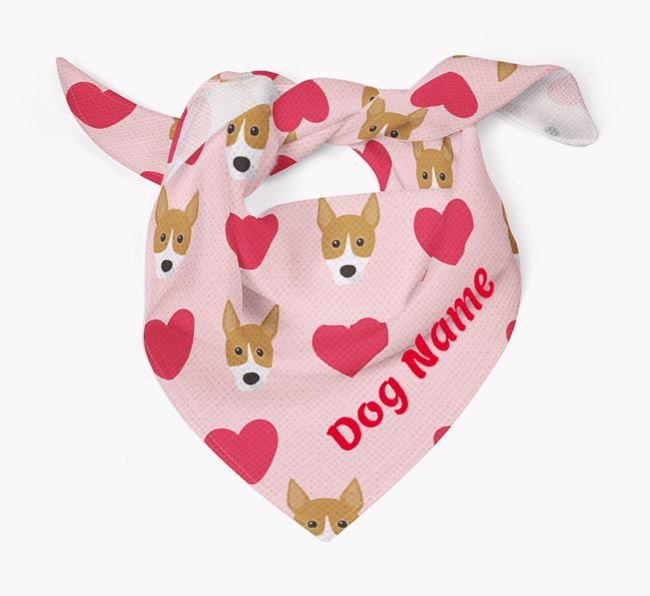 'Heart Pattern' - Personalized Basenji Bandana