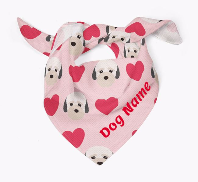 'Heart Pattern' - Personalized Bich-poo Bandana
