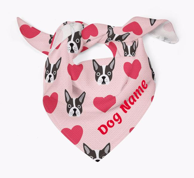 'Heart Pattern' - Personalised Boston Terrier Bandana