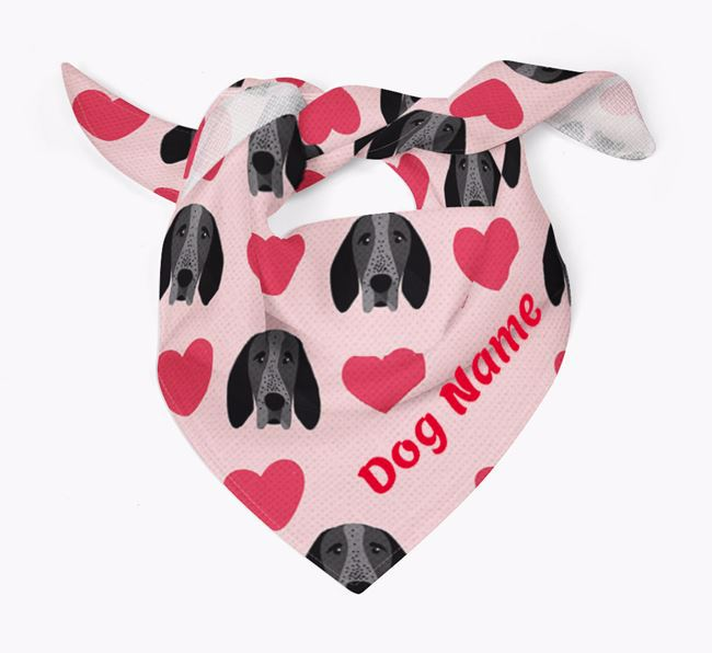'Heart Pattern' - Personalised Braque D'Auvergne Bandana