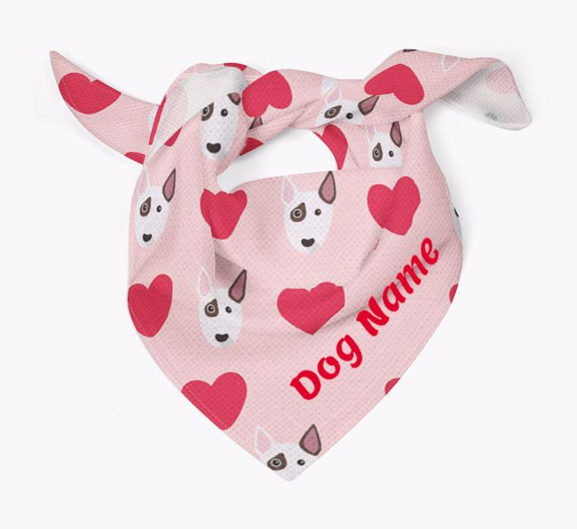 'Heart Pattern' - Personalized Bull Terrier Bandana