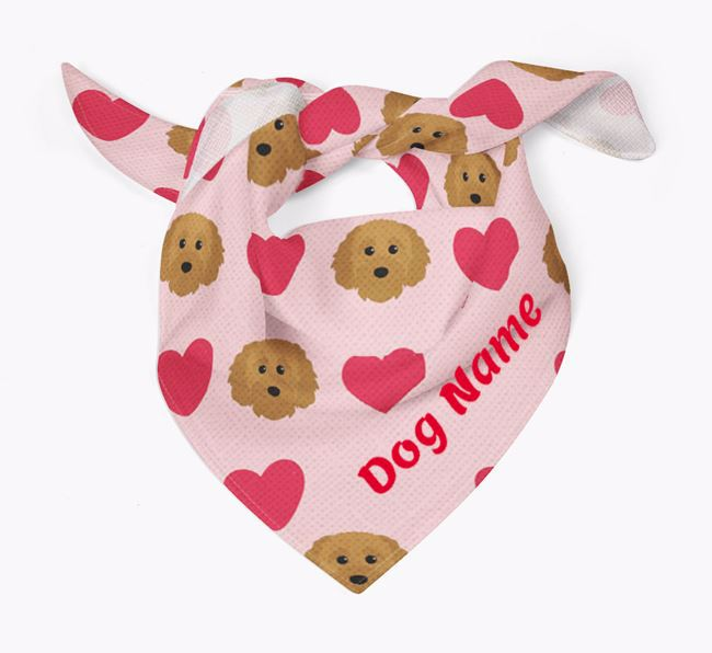 'Heart Pattern' - Personalized Cavapoochon Bandana