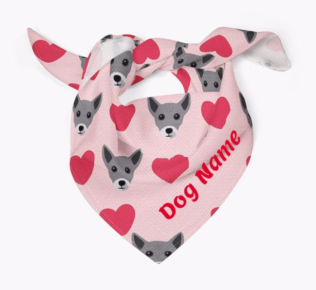 'Heart Pattern' - Personalised Chi Staffy Bull Bandana
