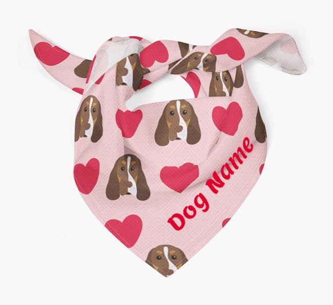 'Heart Pattern' - Personalized Cocker Spaniel Bandana