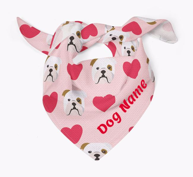 'Heart Pattern' - Personalized English Bulldog Bandana