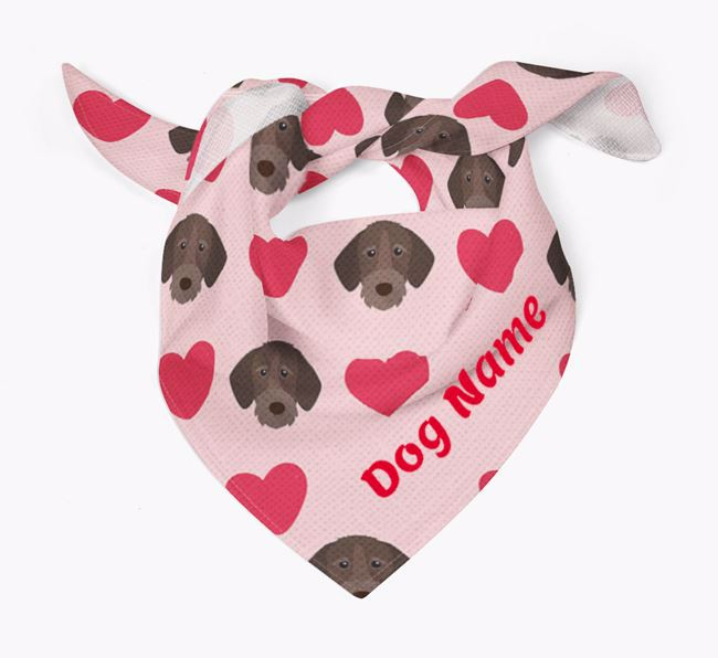 'Heart Pattern' - Personalised German Wirehaired Pointer Bandana