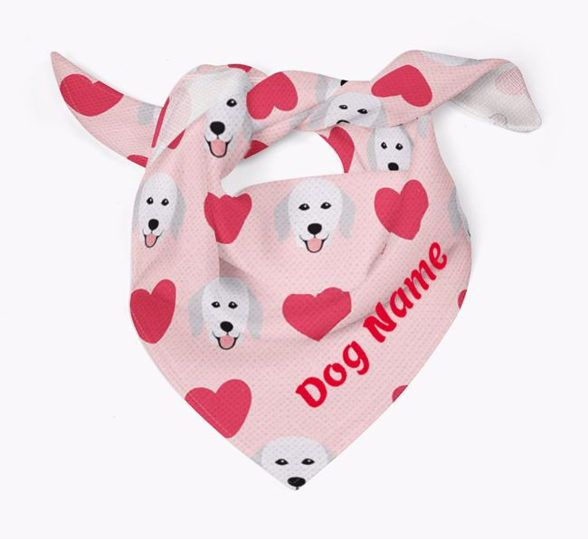 'Heart Pattern' - Personalised Hungarian Kuvasz Bandana