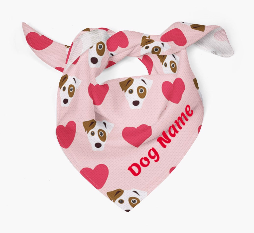 Heart Yappicon Pattern Bandana for your Dog Tied