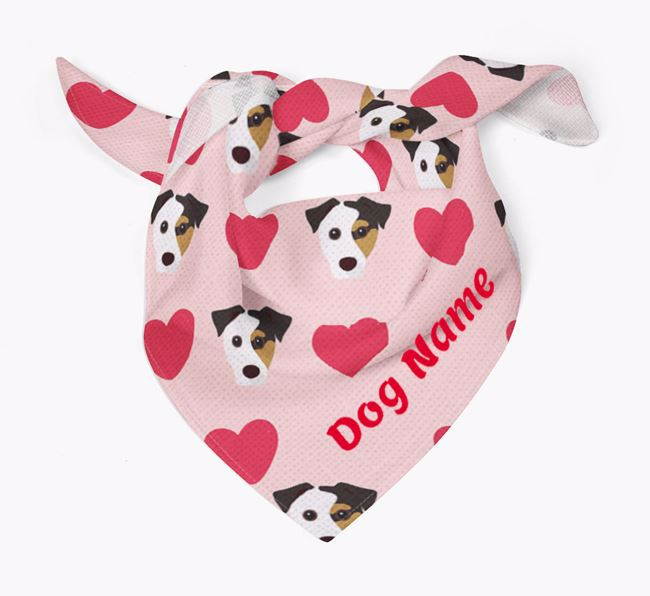 'Heart Pattern' - Personalized Jack Russell Terrier Bandana