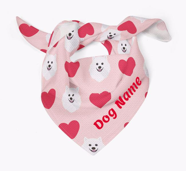 'Heart Pattern' - Personalised Japanese Spitz Bandana