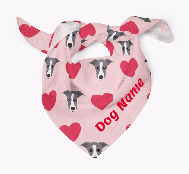 'Heart Pattern' - Personalised Lurcher Bandana