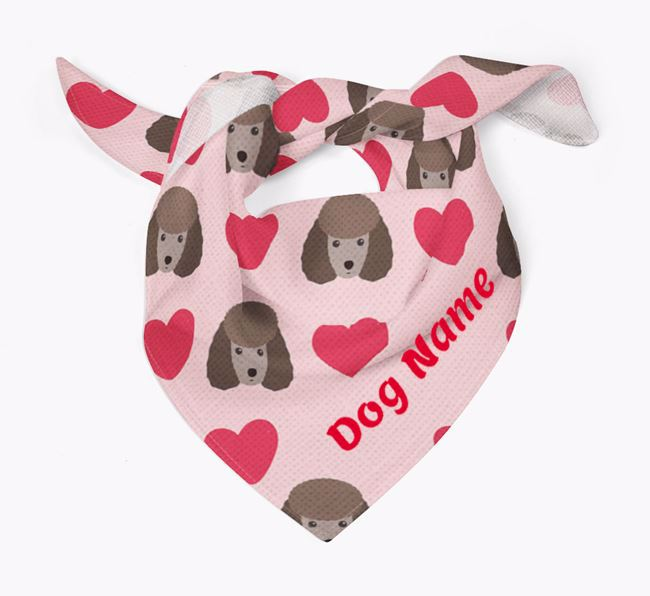 'Heart Pattern' - Personalised Miniature Poodle Bandana