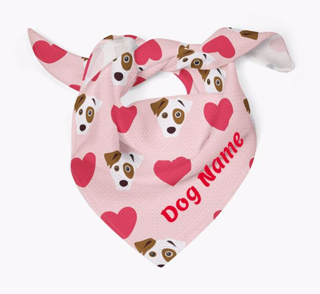 'Heart Pattern' - Personalised Parson Russell Terrier Bandana
