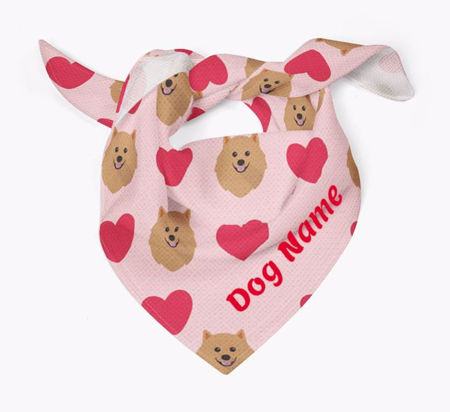 'Heart Pattern' - Personalized Pomeranian Bandana