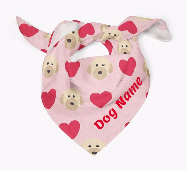 'Heart Pattern' - Personalised Powderpuff Chinese Crested Bandana
