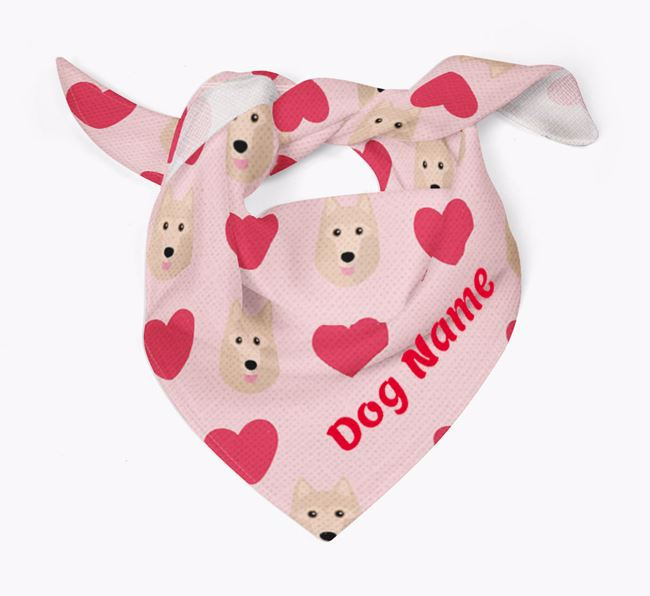 'Heart Pattern' - Personalised Schipperke Bandana