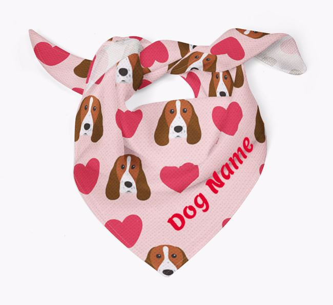 'Heart Pattern' - Personalised Springer Spaniel Bandana