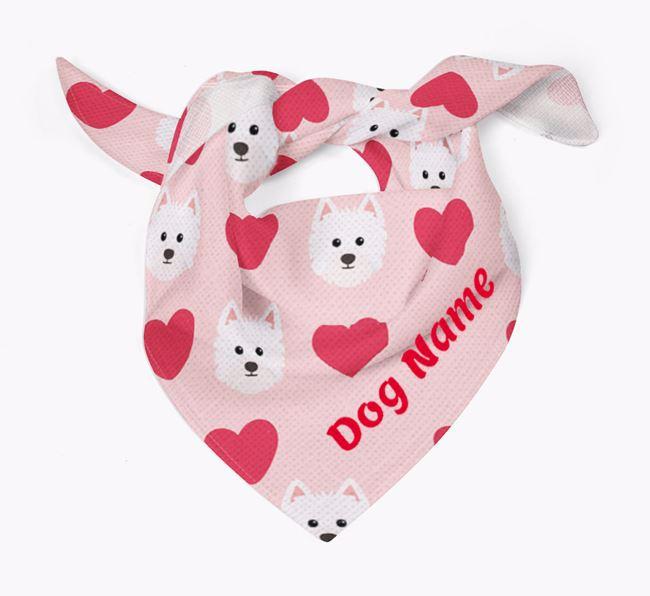'Heart Pattern' - Personalised Westiepoo Bandana