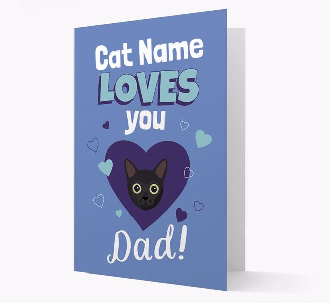 'Loves You Dad' - Personalised Cat Card
