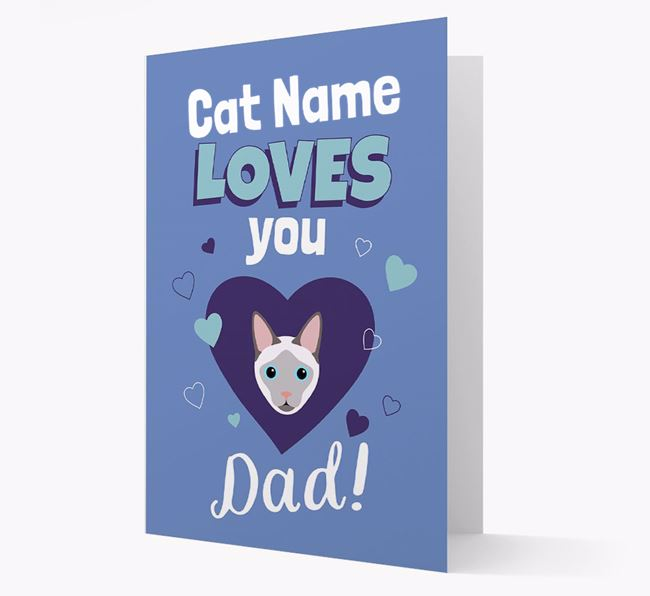 'Loves You Dad' - Personalized Siamese Card