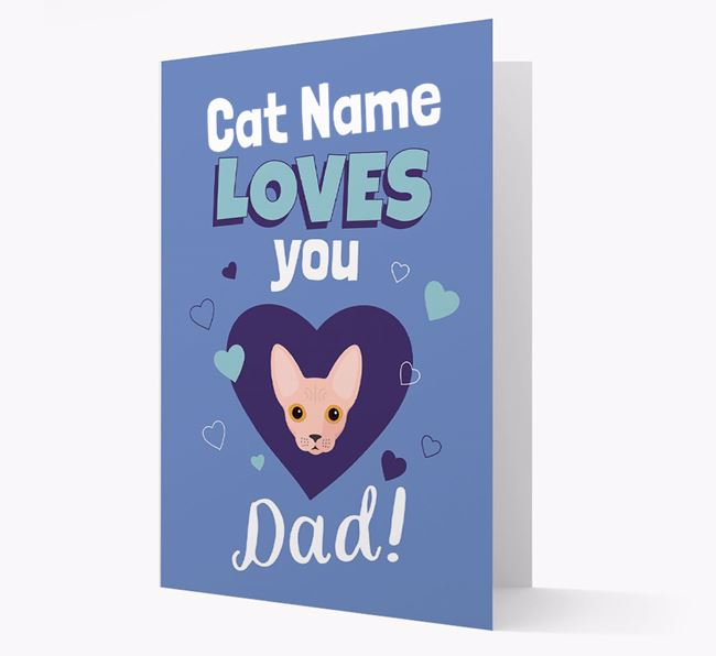 'Loves You Dad' - Personalized Cat Card